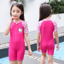 Hellokitty children's swimwear girls conjoined boxer swimsuit baby small children big boy hot spring sunscreen swimsuit