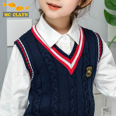 Girls vest autumn sweater school uniform vest winter baby sweater college wind primary school children's clothing outside wear class service
