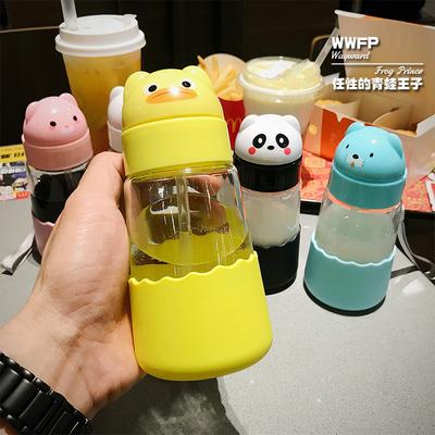 创意可爱吸管杯学生儿童玻璃杯超萌水杯萌物吸水杯防漏带吸管便携