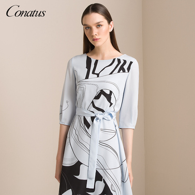 CONATUS/珂尼蒂思2018秋季新款优雅抽象图案系带丝绸连衣裙 女