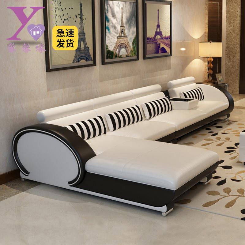 现代沙发真皮转角