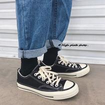 夏季纯黑工作鞋休闲全黑色帆布鞋男鞋子韩版低帮2018香港潮牌代购
