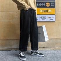 春秋阔腿牛仔裤chic韩范纯色百搭宽松直筒牛仔裤潮男黑色牛仔长裤