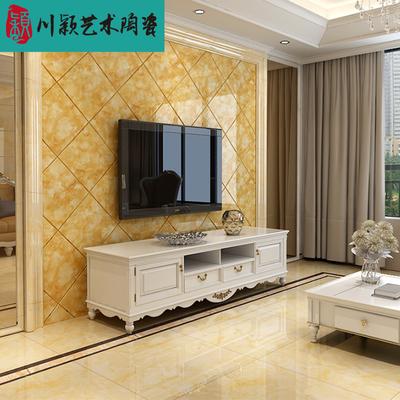 微晶石800电视背景墙瓷砖欧式影视护墙板门框菱形黄龙玉镜面瓷砖爆款