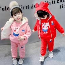 童装女童冬装新款1-2-3岁女宝宝套装婴幼儿外出服三件套加绒加厚