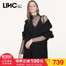 LINC金羽杰2017秋新款时尚灯笼袖开领毛呢外套女宽松大衣7360221图片