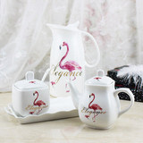 Popular flamingo restaurant home kitchen ceramic seasoning seasoning box soy sauce pot vinegar pot chili pot set