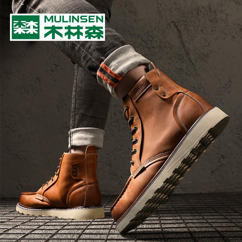 木林森靴子马丁靴男高帮工装靴英伦风中帮短靴冬季加绒保暖雪地靴