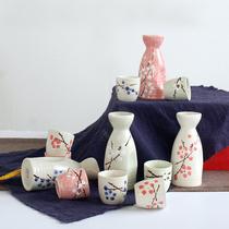 日式和风清酒具套装釉下彩温酒器小酒壶陶瓷寿司店手彩小白酒杯