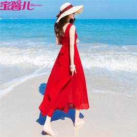 波西米亚长裙沙滩裙女夏2019新款海边度假裙大摆型显瘦雪纺连衣裙