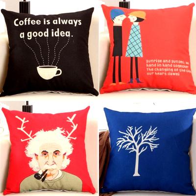 亚麻办公椅子靠枕靠背垫大号沙发靠垫套棉麻抱枕套正方形红色蓝色