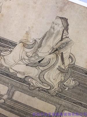 李公麟维摩演教图白描人物画芯古代人物国画古画真迹高清复制绢本