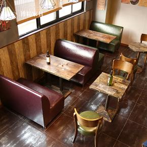 主题西餐厅双人卡座沙发 甜品饮品奶茶店沙发卡座 咖啡厅桌椅组合