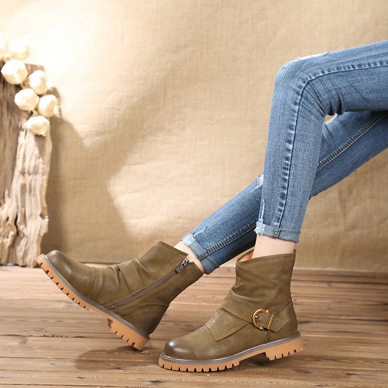 梓茵百丽真皮马丁靴女英伦2018新款复古短靴中筒靴平底雪地靴防滑