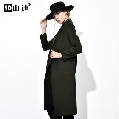 山迪欧洲站2018春装欧货新款潮韩版气质纯羊毛呢子大衣中长款外套