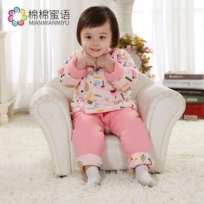 宝宝手工棉衣幼儿棉花内胆加厚冬季男童女童棉服婴儿棉袄棉裤套装