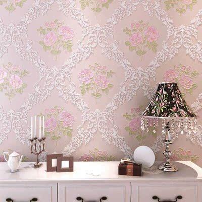 韓式田園主臥淡紫色玫瑰無紡布墻紙 浪漫溫馨客廳臥室粉色正品熱賣
