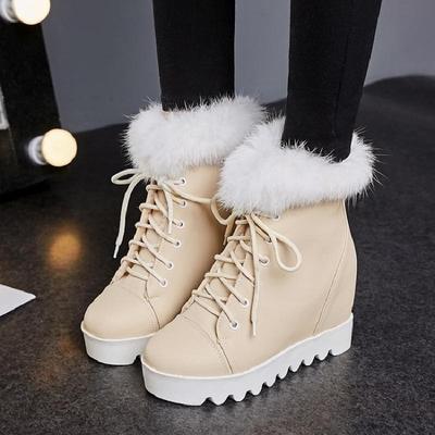 2017冬季兔毛内增高高跟厚底系带圆头女士休闲短靴雪地靴高帮鞋