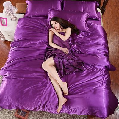 贡缎冰丝四件套纯色丝绸春夏1.8m床品天丝4件套被套床单床上用品
