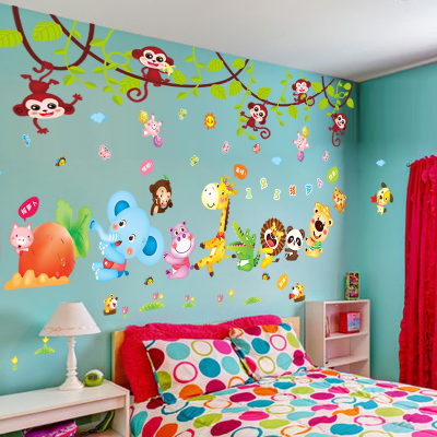儿童房墙贴纸贴画男孩卡通卧室壁纸宝宝房间装饰品3D立体自粘墙纸