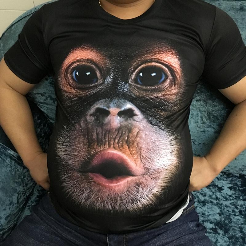 3D个性立体搞笑猴子头图案短袖t恤男装滑稽大码胖子印花恶搞衣服