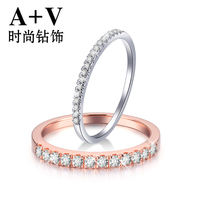 A+V18k gold diamond diamond ring row drill broken diamond ring marriage proposal wedding stack white gold rose gold ring female ring