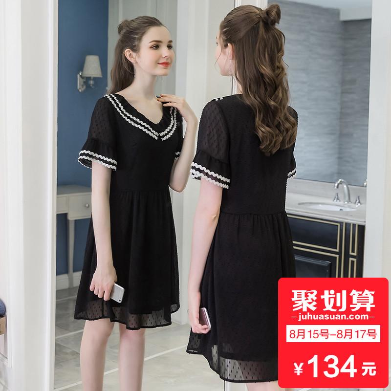 奢姿大码女装小黑裙2018新款夏装200斤胖mm荷叶边雪纺显瘦连衣裙