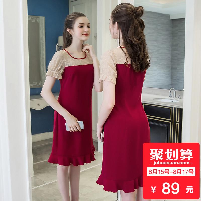 奢姿2018夏季女装新款200斤胖mm大码蕾丝拼接连衣裙荷叶裙摆减龄