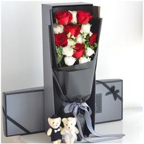 11朵红玫瑰花束成都鲜花速递同城重庆太原青岛北京深圳情人节送花