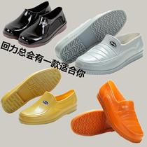 高帮夹棉男士牛筋底防水鞋耐磨靴子低帮男士雨靴防滑水鞋胶鞋工作