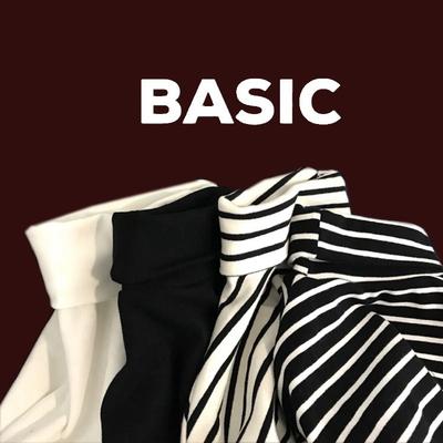 黑白条纹打底衫女长袖宽松修身韩版加绒厚学生堆堆领高领磨毛t恤