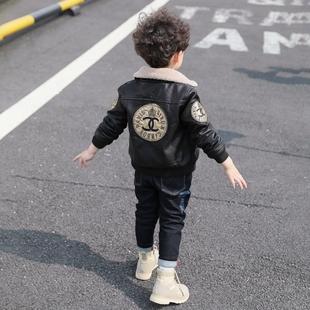 童装男童冬装外套2018新款儿童加绒加厚皮衣夹克秋冬洋气宝宝潮短