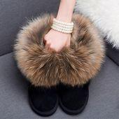 冬季真皮狐狸毛雪地靴女短筒靴貉子毛防滑牛筋底内增高雪地棉女靴