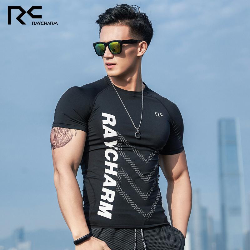 RC紧身衣男运动弹力压缩肌肉透气训练跑步篮球上衣短袖T恤健身衣