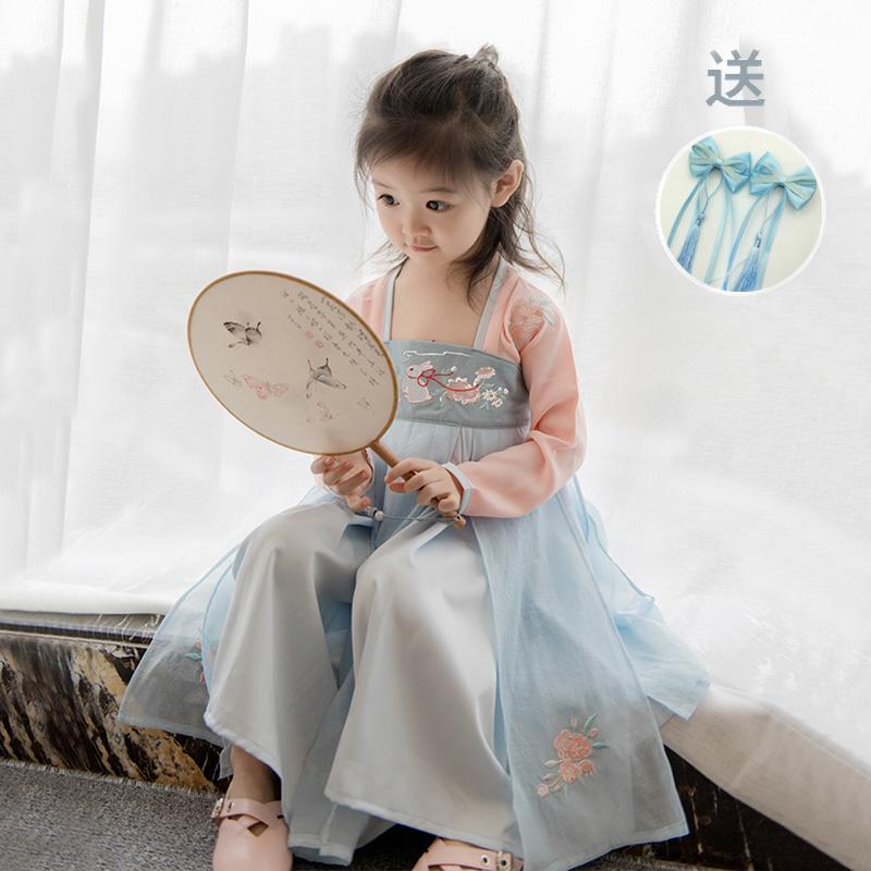 女童汉服春夏小女孩改良襦裙仙女裙中国风宝宝服装小孩长短袖童装