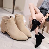 女鞋靴子2018秋冬季新款欧美尖头粗跟低跟短靴磨砂侧拉链切尔西靴