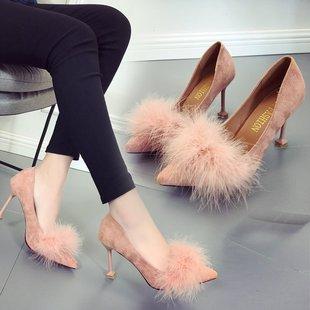 女秋季2018新款韩版时装绒面尖头浅口毛毛单鞋性感细跟百搭高跟鞋