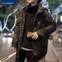 韩版 潮潮流冬季厚加棉棉衣工装 外套 秋装 ins港风风衣男迷彩中长款图片