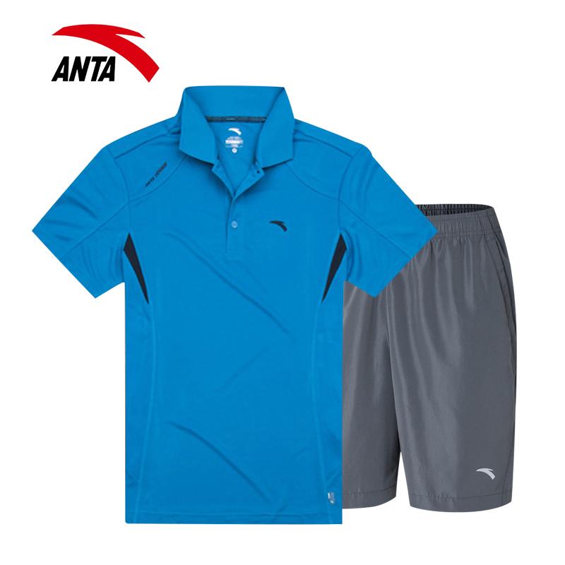 安踏运动套装男装运动服夏装新款薄款跑步健身透气短袖短裤两件套
