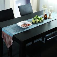 现代简约雪尼尔桌旗欧式条纹棉麻床旗茶几旗桌垫新中式电视柜盖巾
