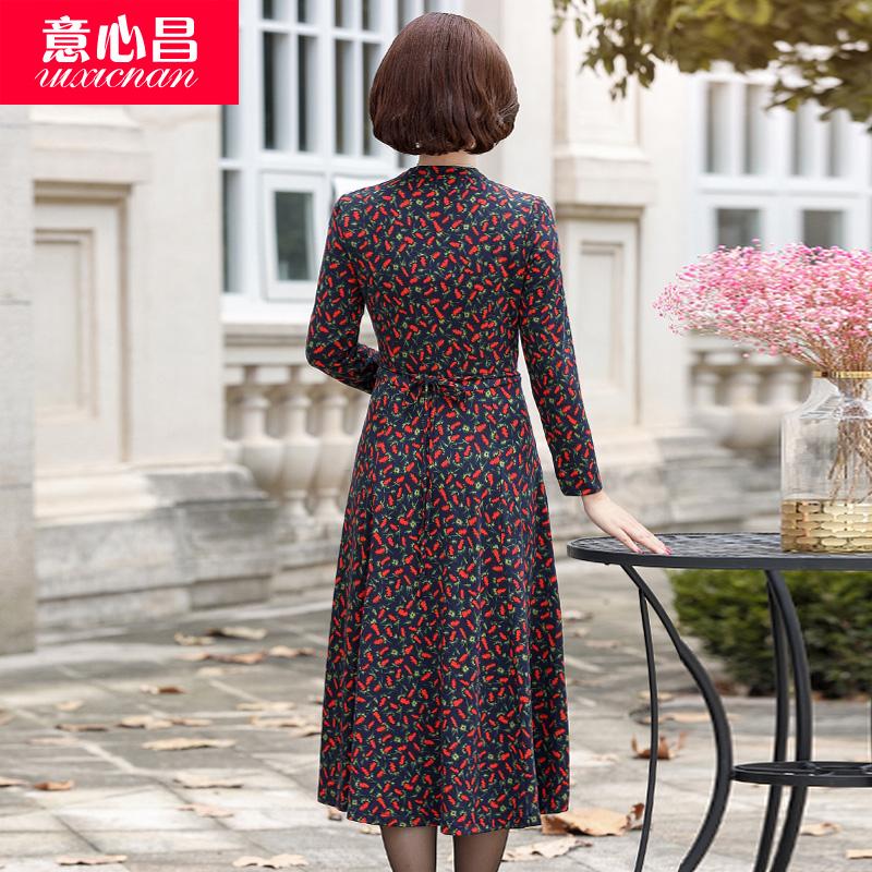 妈妈春秋装长袖连衣裙子过膝中年女装40岁50高贵中老年人2018新款