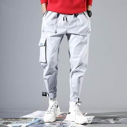 YOA春夏新款国潮工装裤男潮牌宽松嘻哈休闲裤子男魔术贴ins束脚裤