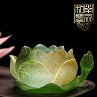 Home Buddhist Temple Decorations for Buddha Fortune Lights Glass Lotus Leaf Bottom Butter Lamps Lantern Lights Candles Candles Changming Lamps