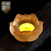 Home candlestick Buddhist temple for Buddha Fortune God butter lamp seat imitation glass candle holder lotus lamp colorful mandala lamp