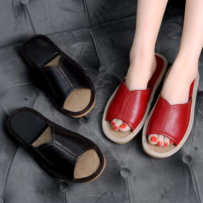 居家夏季防滑羊皮拖鞋凉拖鞋男女室内家居木地板家用亚麻拖鞋