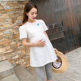 Pregnant dress 2019 summer dress new pregnant women's shirt Korean version of the summer short-sleeved loose-fitting shirt mid-length cotton top