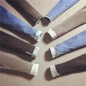 2018韩版高腰弹力裤铅笔裤九分裤流苏显瘦学院风灰色黑色牛仔裤女