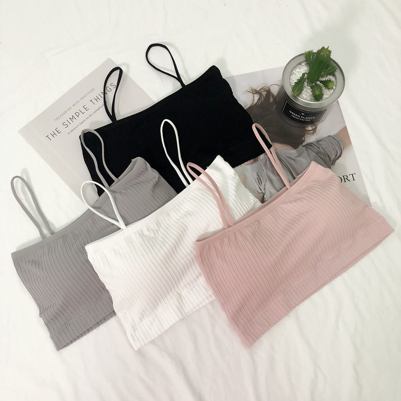 summer bra underwear anti-light gathering gathered chest-style camisole women bra bottom anti-spirited