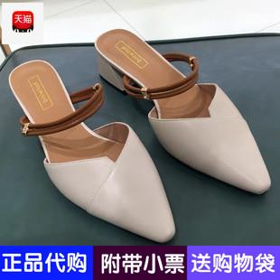 尖头休闲半拖鞋 小清新女士粗高跟拖鞋 H34W9103春季热风2019年新款