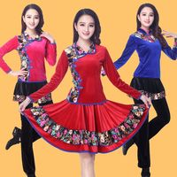 2018 square dance costume new suit autumn and winter gold velvet long-sleeved thick adult dance dance costume women